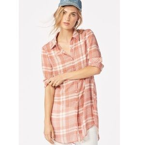 JustFab high low sheer plaid button down tunic